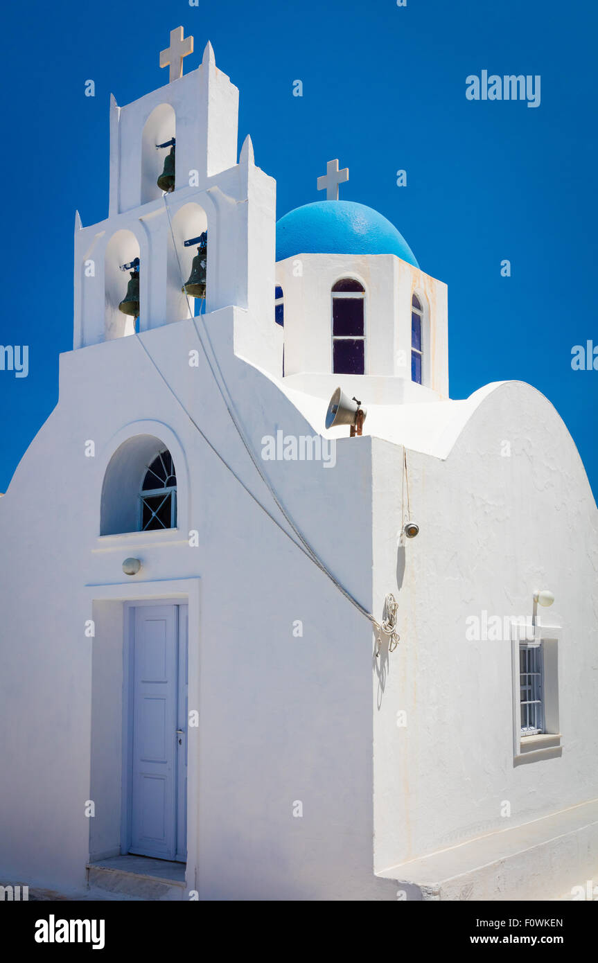 Iconic blue domed chapel in the town of Thira on the greek island Santorini (Thera) - Stock Image