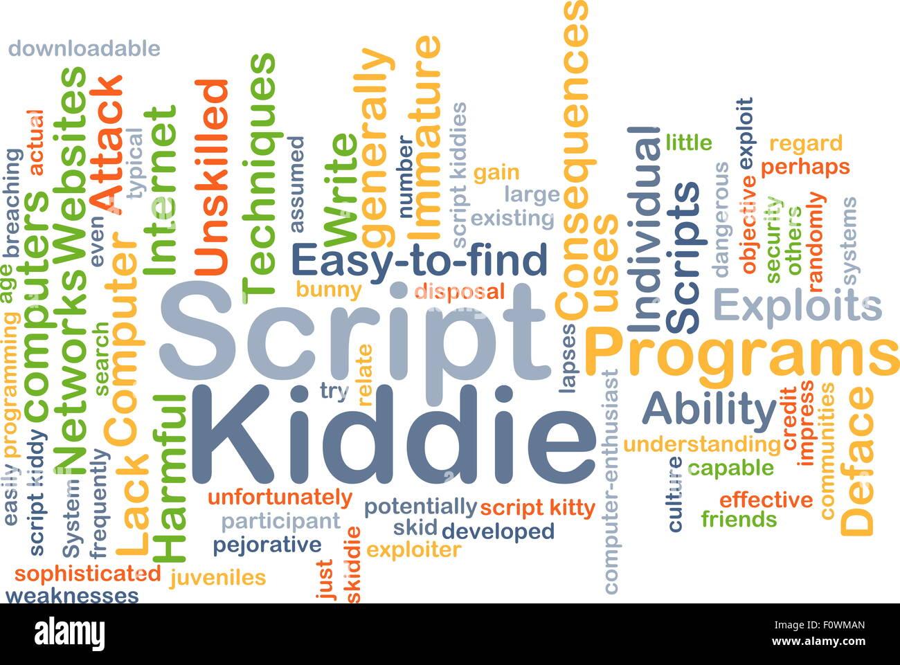 Background concept wordcloud illustration of script kiddie Stock