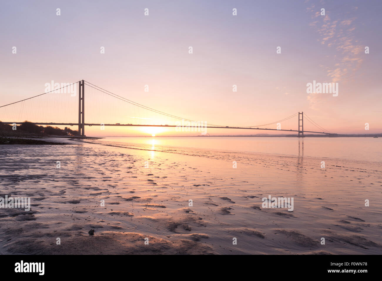 Humber Bridge, Hull to Barton Upon Humber - East Yorkshire, UK - Stock Image