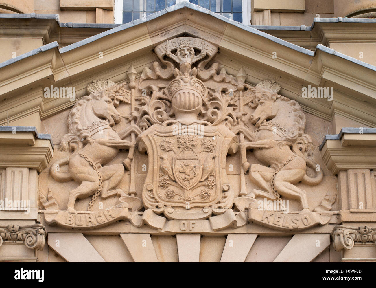Burgh of Kelso coat of arms above door of the Town Hall, Scottish Borders, Scotland, UK - Stock Image