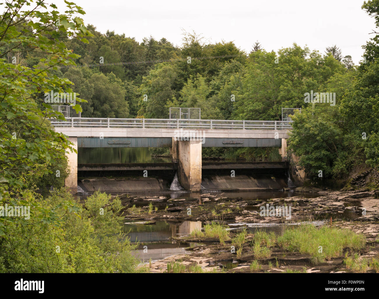 The sluice gates at Bonnington Linn, above Bonnington Hydro power station New Lanark, South Lanarkshire, Scotland, - Stock Image
