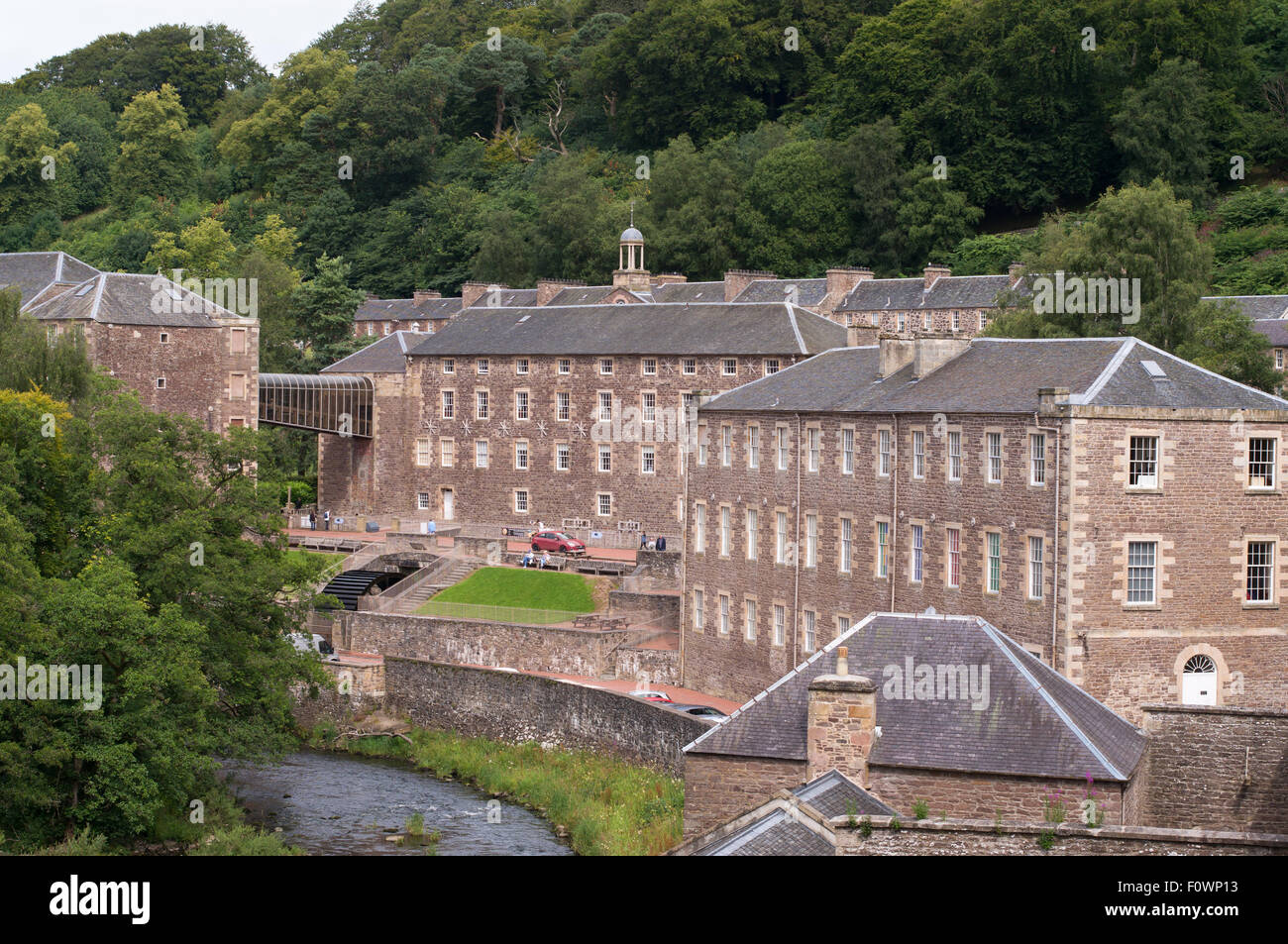 New Lanark Mills, World Heritage Site, Lanark, South Lanarkshire, Scotland, UK - Stock Image
