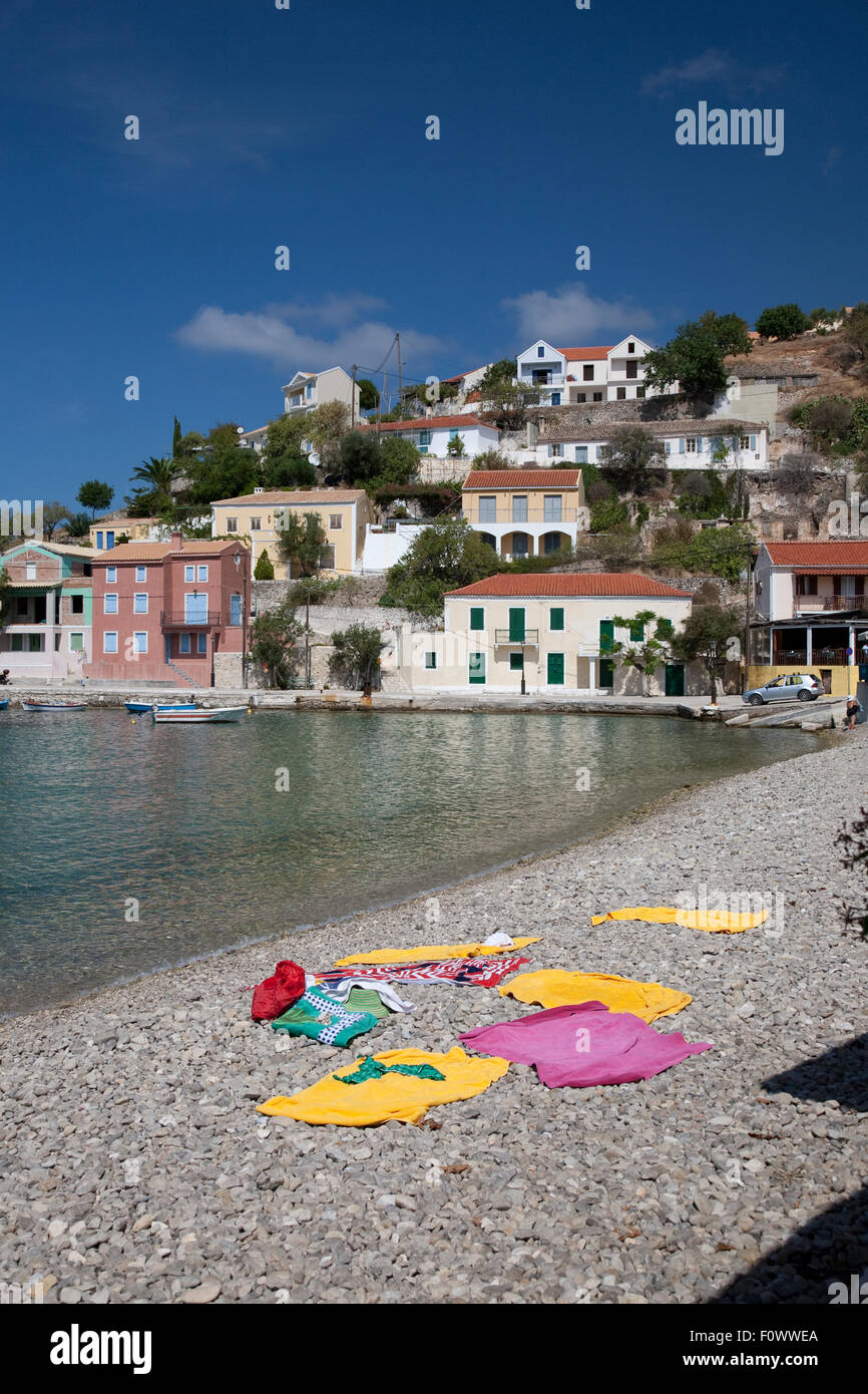 The harbour and beach in the Bay of Assos on the Greek Island of Kefalonia, home to the film, 'Captain Corelli's - Stock Image