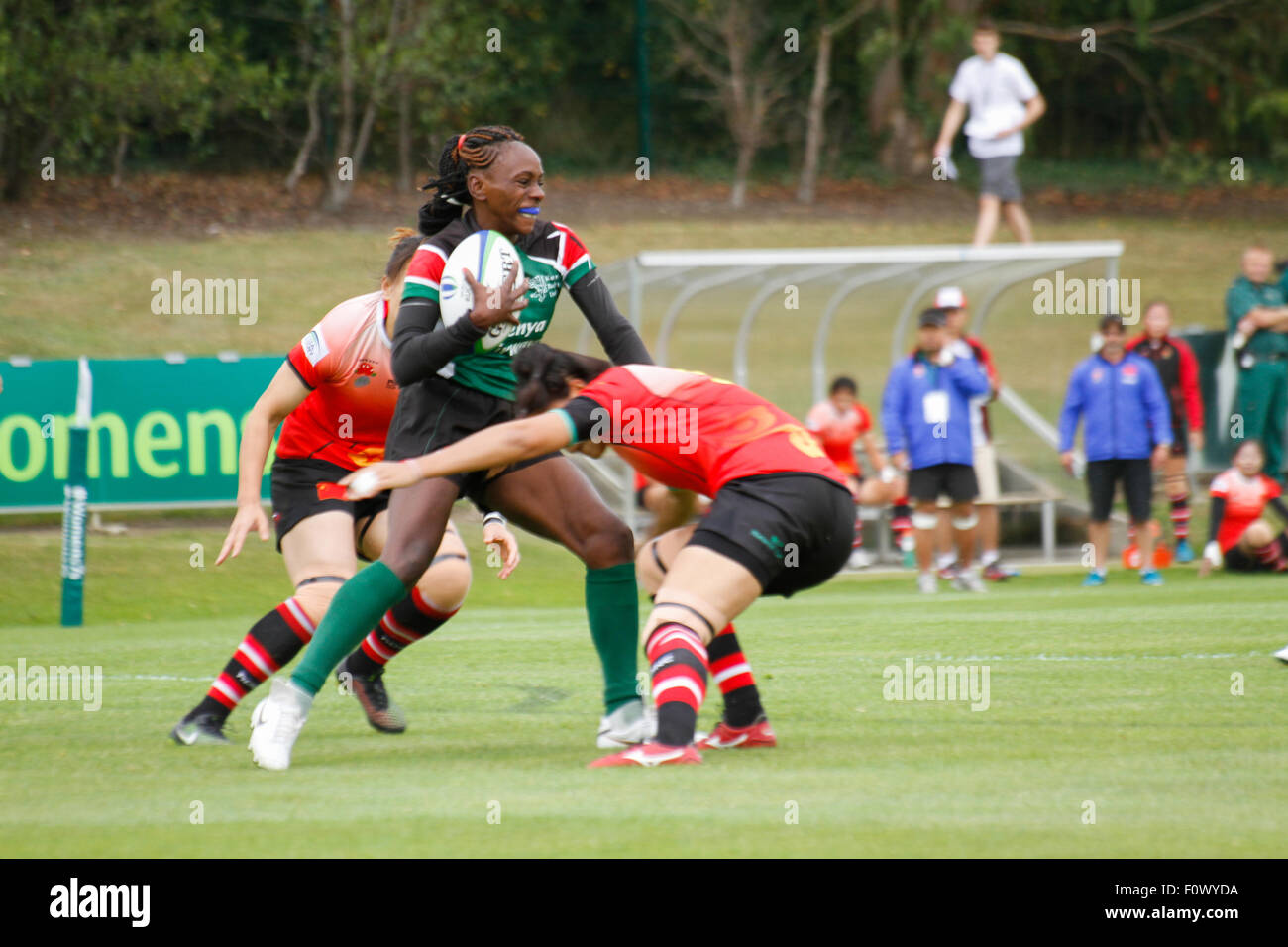 Dublin, Ireland. 22nd August 2015. Kenya's Celestine Masinde with the ball during their match against China - Stock Image