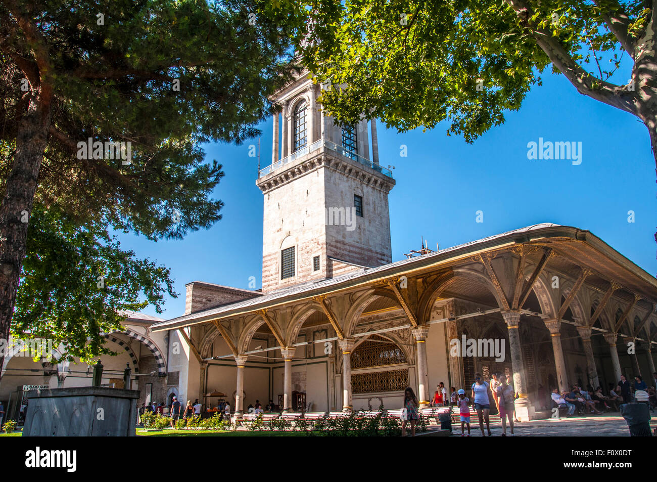 Istanbul, Turkey - August 19, 2015: Tower of Justice in the Second Courtyard of the Topkapi Palace, Istanbul, Turkey. - Stock Image