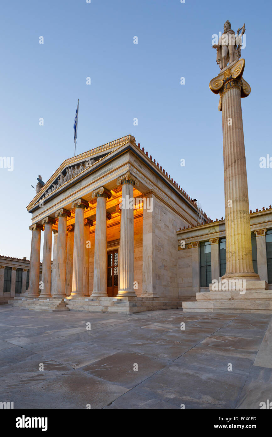 Building of the modern Academy of Athens, the highest research establishment of the country located in Panepistimio - Stock Image