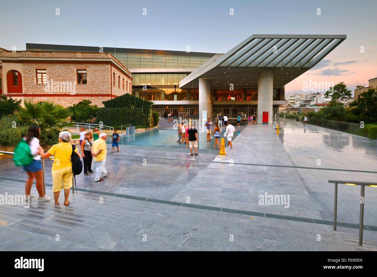 Tourists in front of the main entrance of the Acropolis museum in Athens, Greece - Stock Image