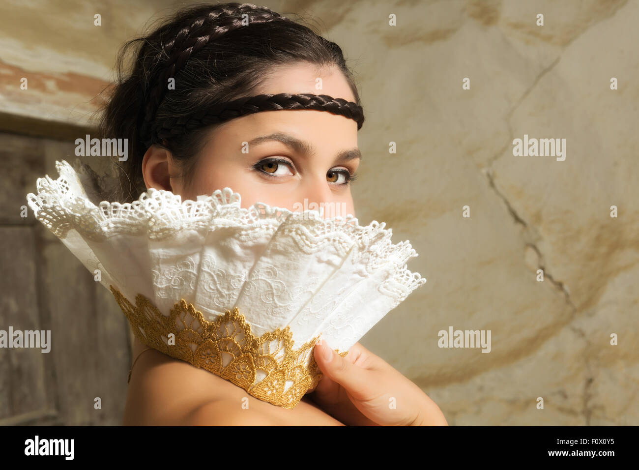Fine art renaissance portrait of a woman wearing a lace collar in the style of the old masters - Stock Image