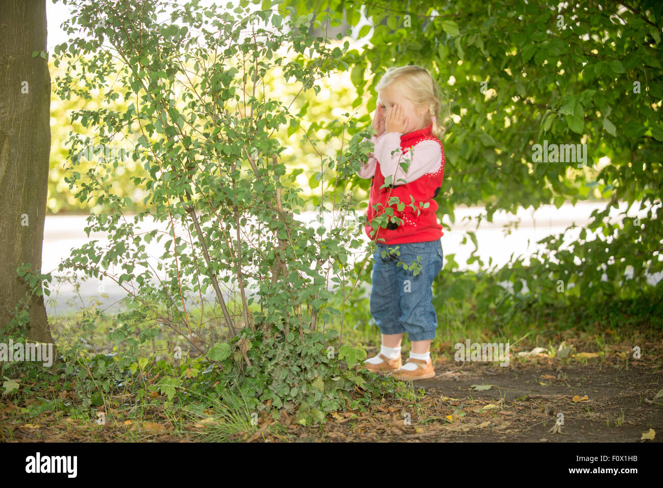 Young child playing hide and seek. - Stock Image
