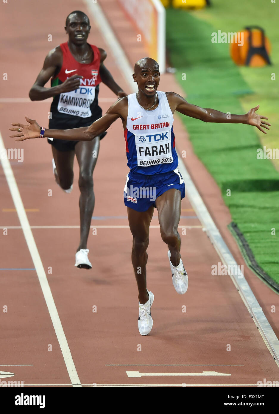 Beijing, China. 22nd August, 2015. Mo Farah of Great Britain in the mens 10 000m final during day 1 of the 2015 - Stock Image