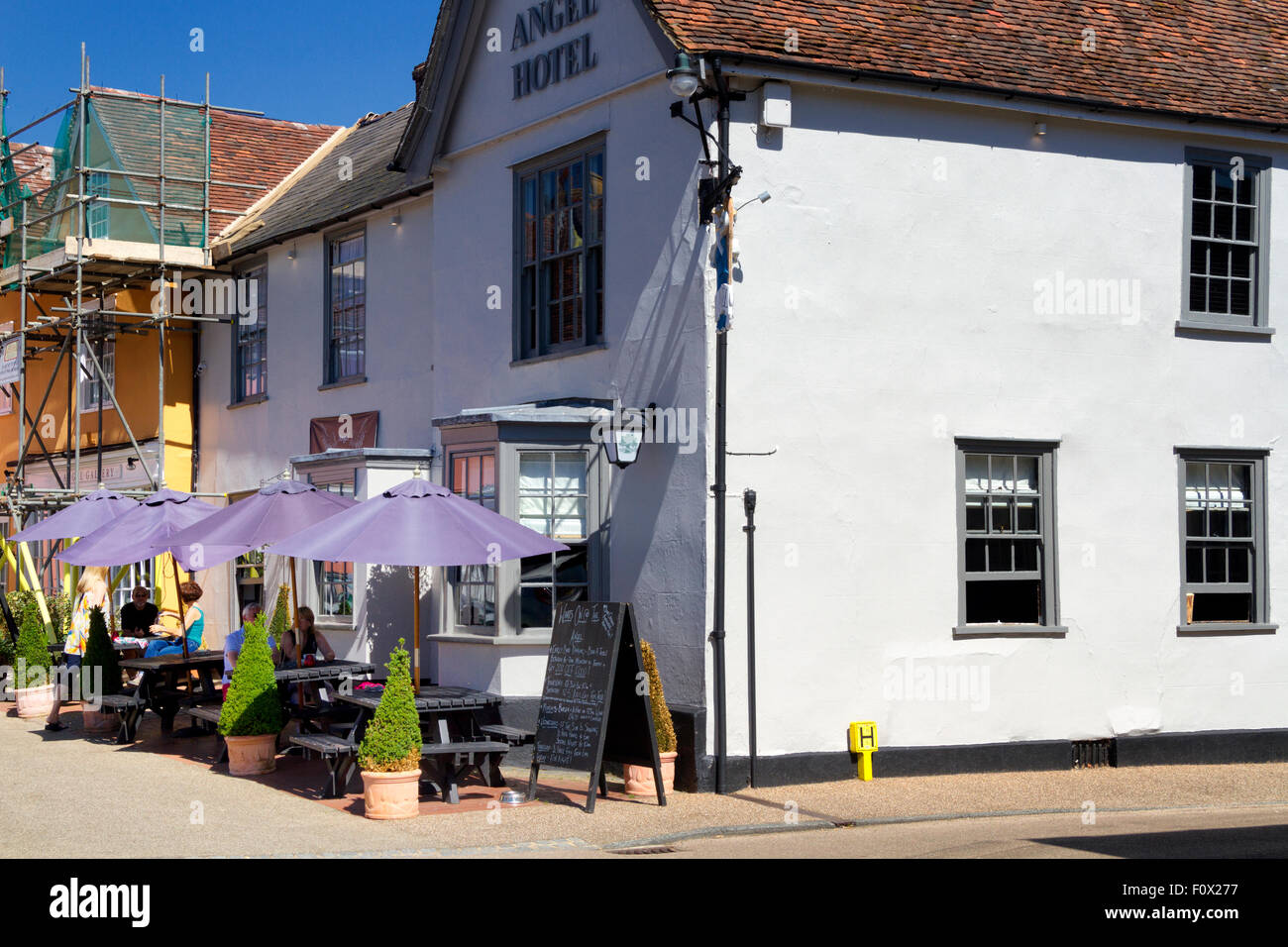 The Angel Hotel, Market Place, Lavenham, Suffolk, UK Stock Photo