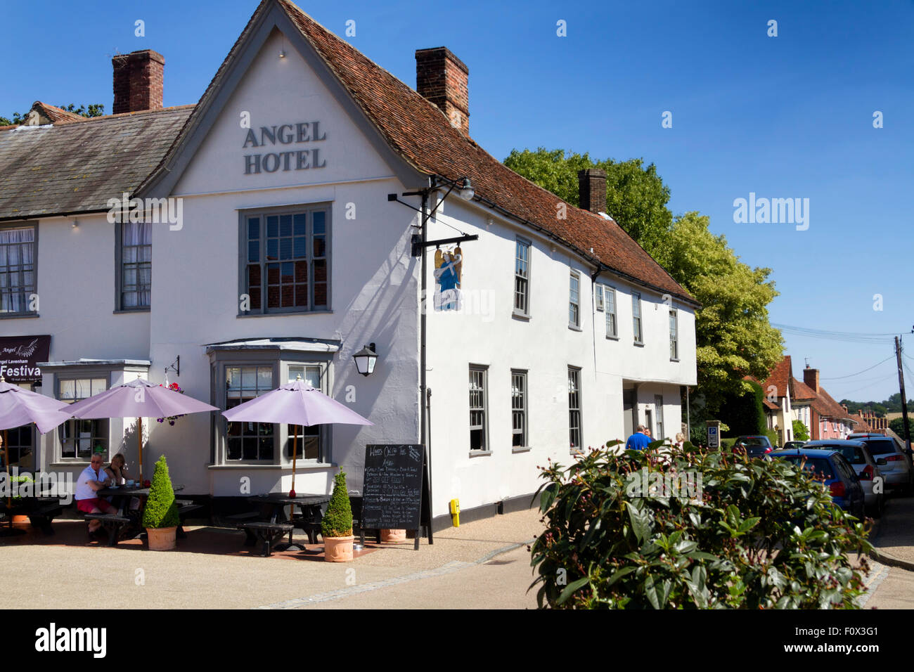 The Angel Hotel, Market Place, Lavenham, Suffolk, UK Stock Photo