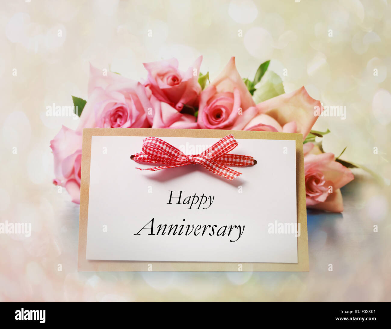 Happy Anniversary Greeting Card With Roses Stock Photo 86625477 Alamy