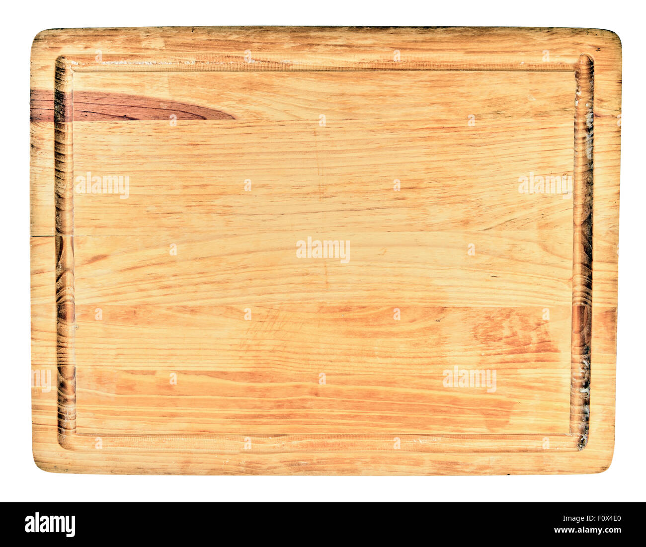 wooden cutting board on white background - Stock Image