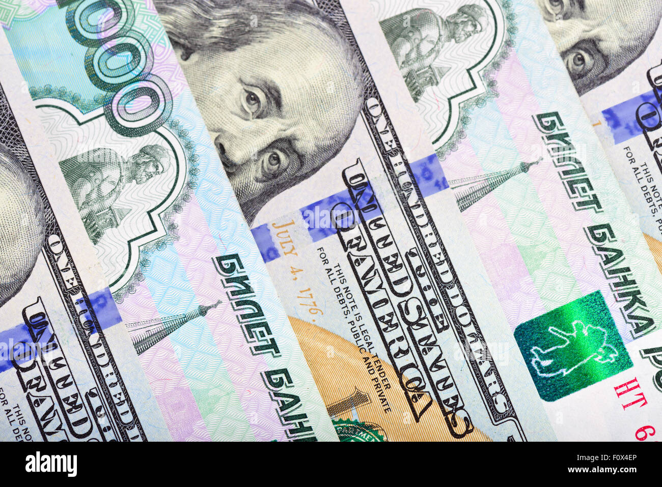 Dollars and ruble mix background - Stock Image