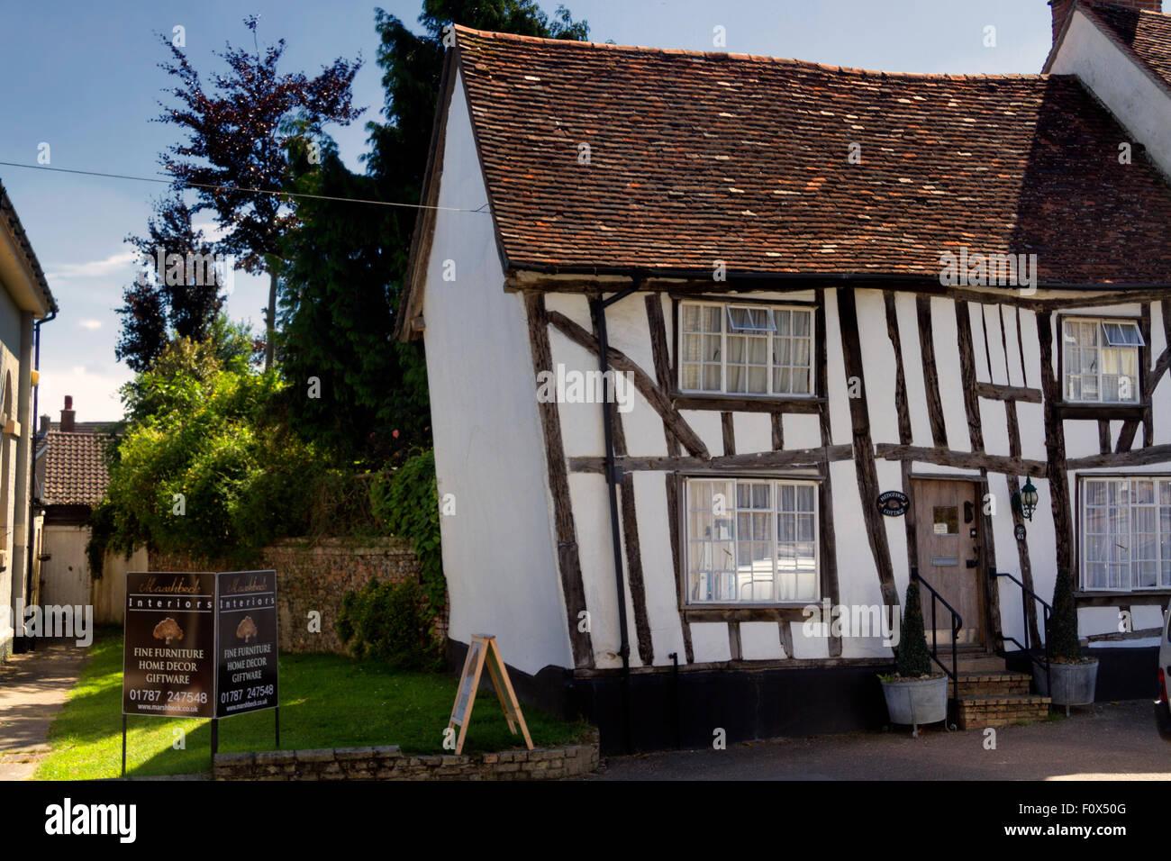 Historic timber framed Hedgehog Cottage, High Street, Lavenham, Suffolk, UK - Stock Image