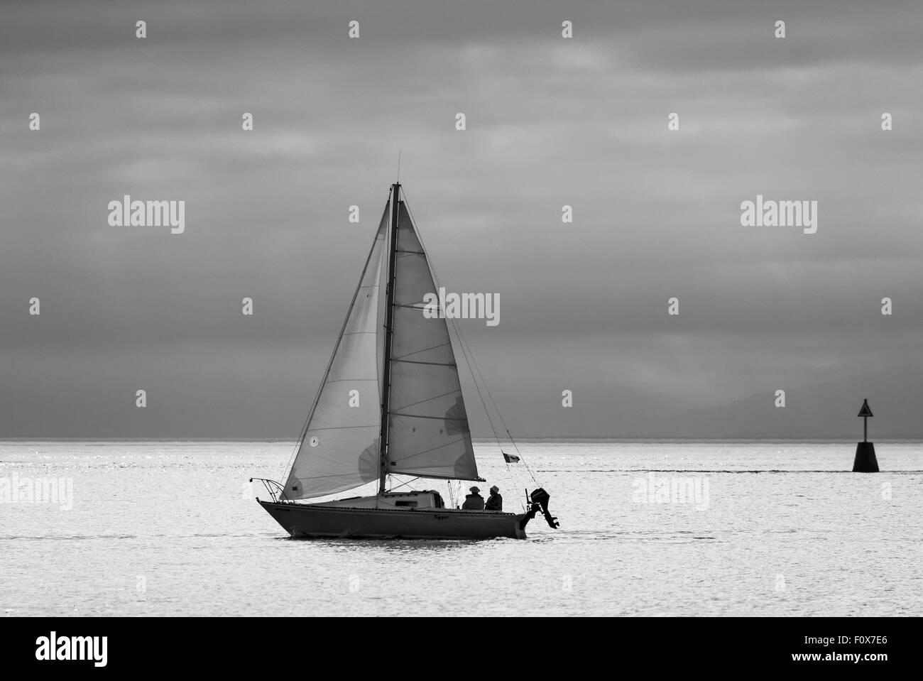 Sailboat in Juan de Fuca Strait-Victoria, British Columbia, Canada. - Stock Image