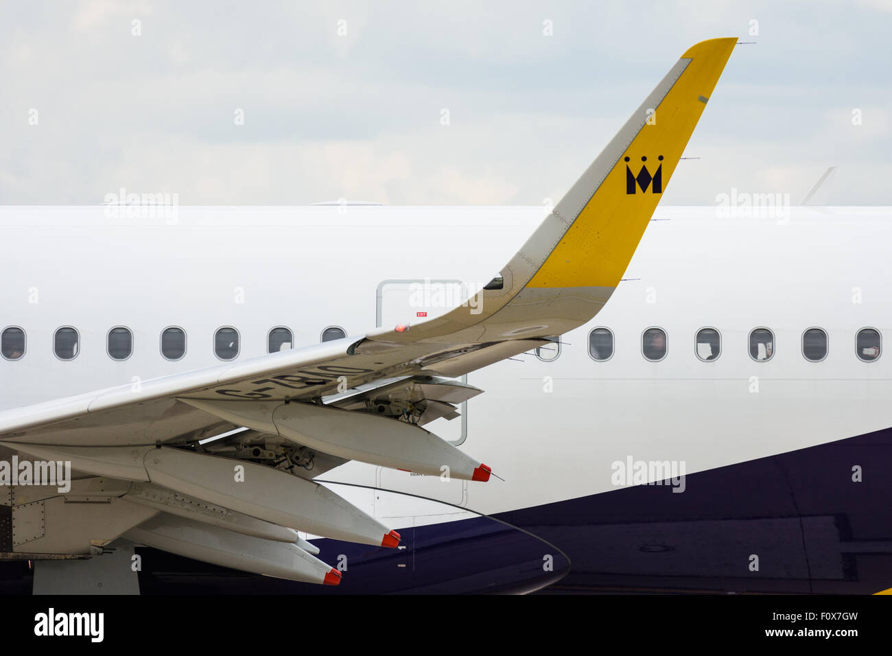 Winglet and wing detail of a Monarch Airlines Airbus A321-200 plane - Stock Image