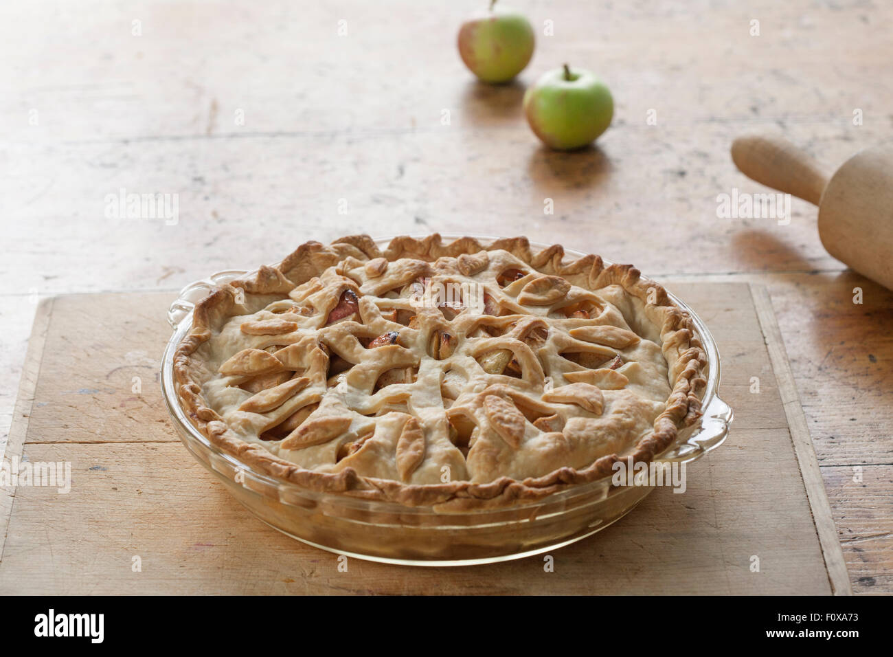 beautiful apple pie with floral lattice - Stock Image