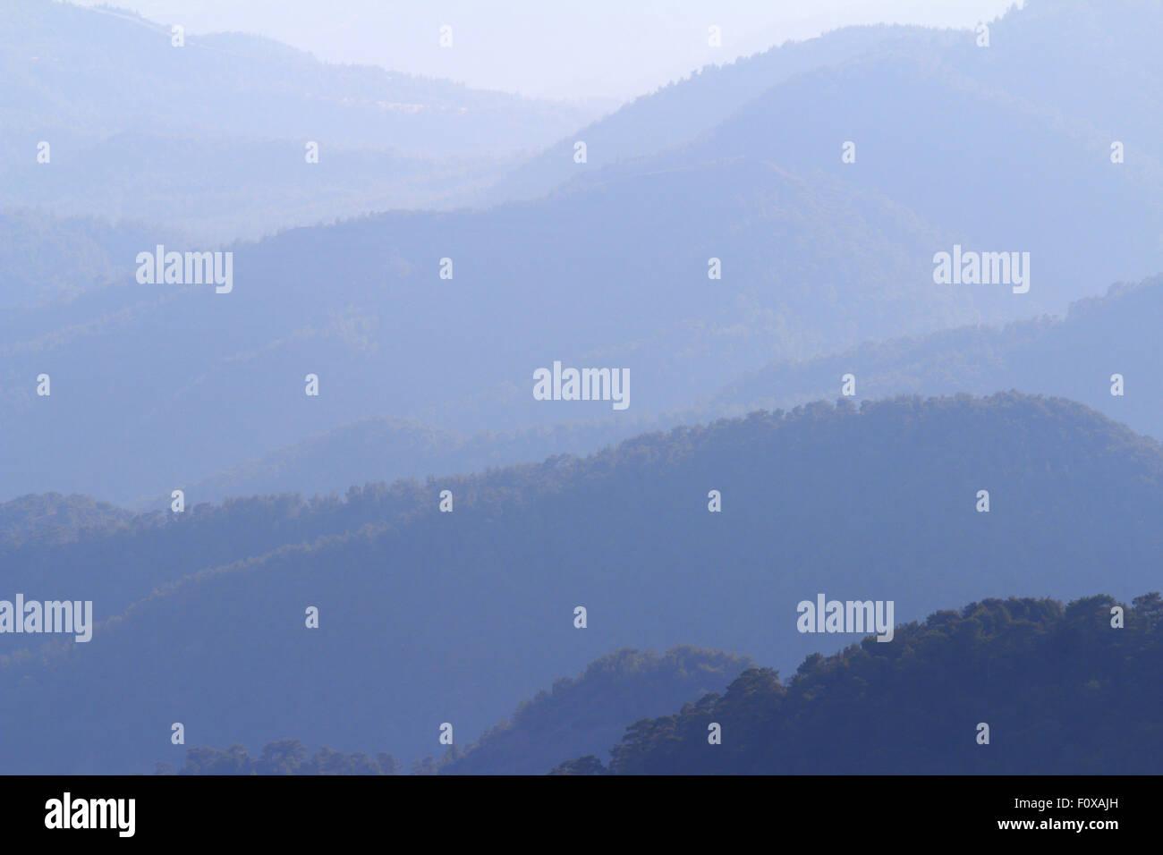 Blue mountain range, Troodos, Cyprus - Stock Image