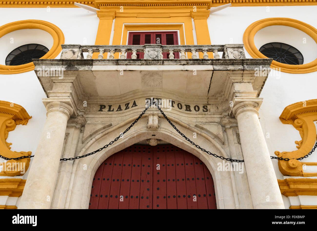 Detail of the outside of Seville Bullring, Seville, Andalucia, Spain, Europe. Stock Photo