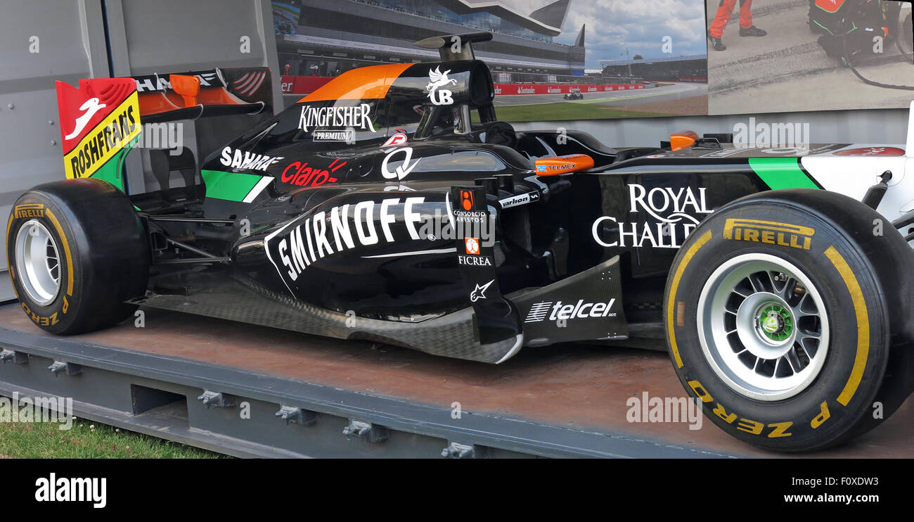 Force India Formula One Car, Silverstone, July 2015 - Stock Image