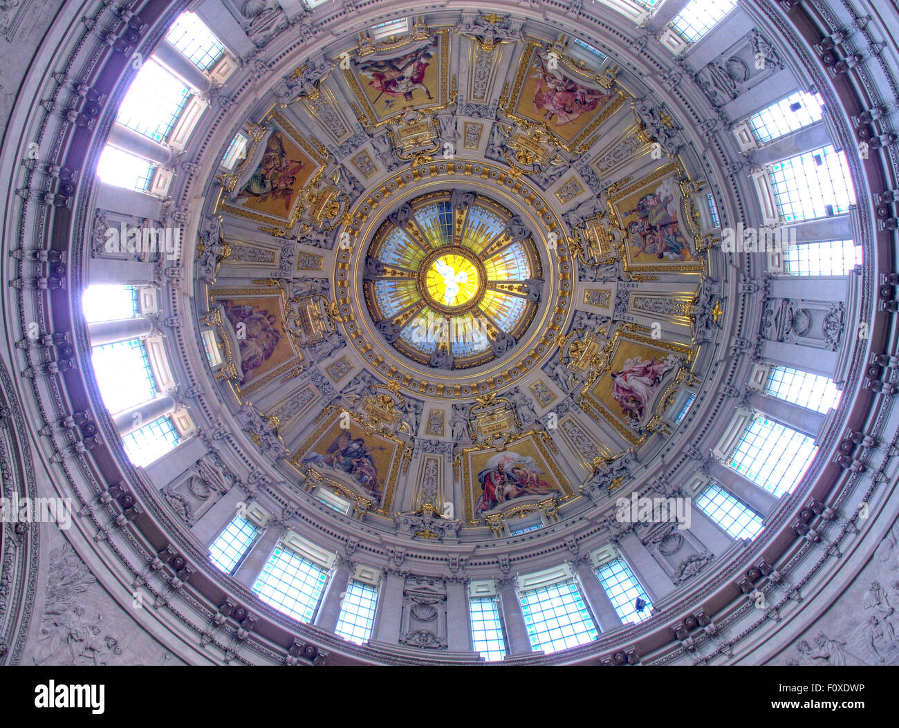 Berlin Cathedral Dome, interior looking up, Germany - Stock Image