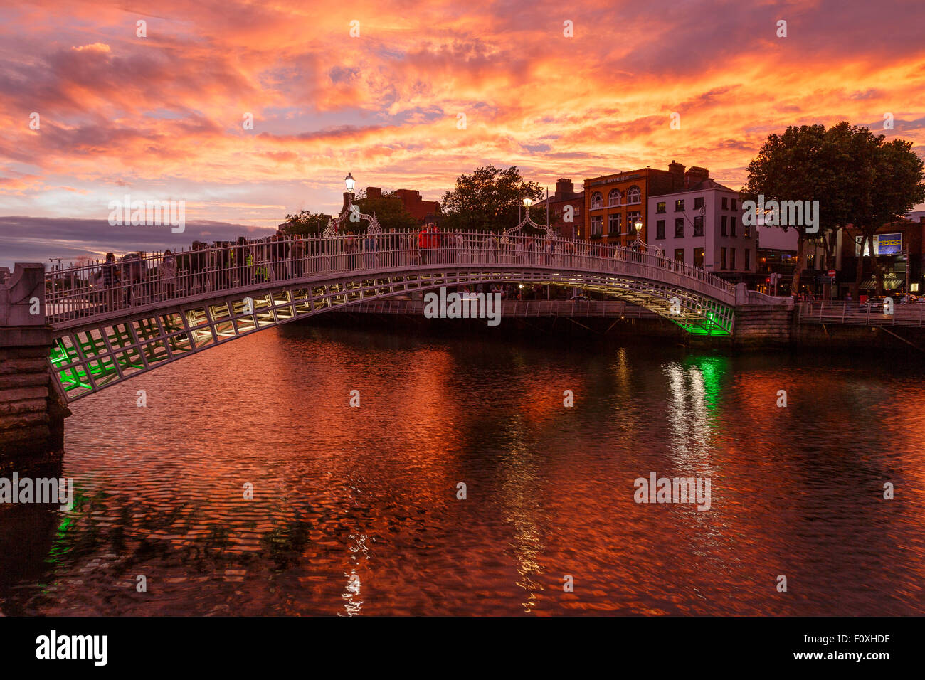 Ha Penny bridge and Liffery river. Dublin. Ireland. Europe - Stock Image