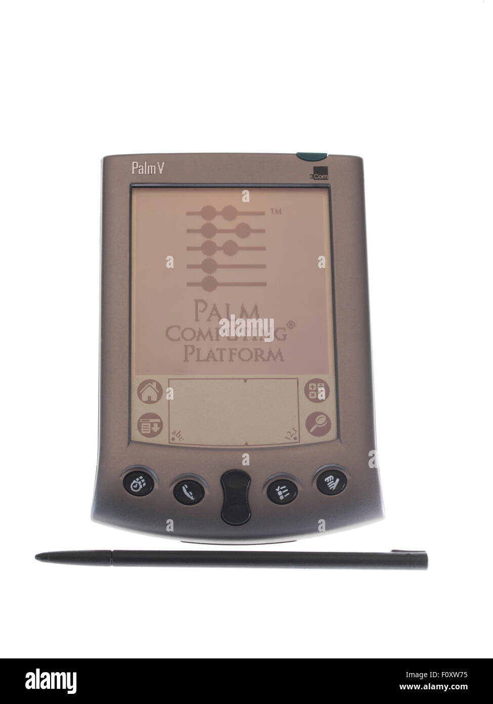 Palm V PDA personal digital assistant by Palm Computing of 3Com released Feb 1999 - Stock Image