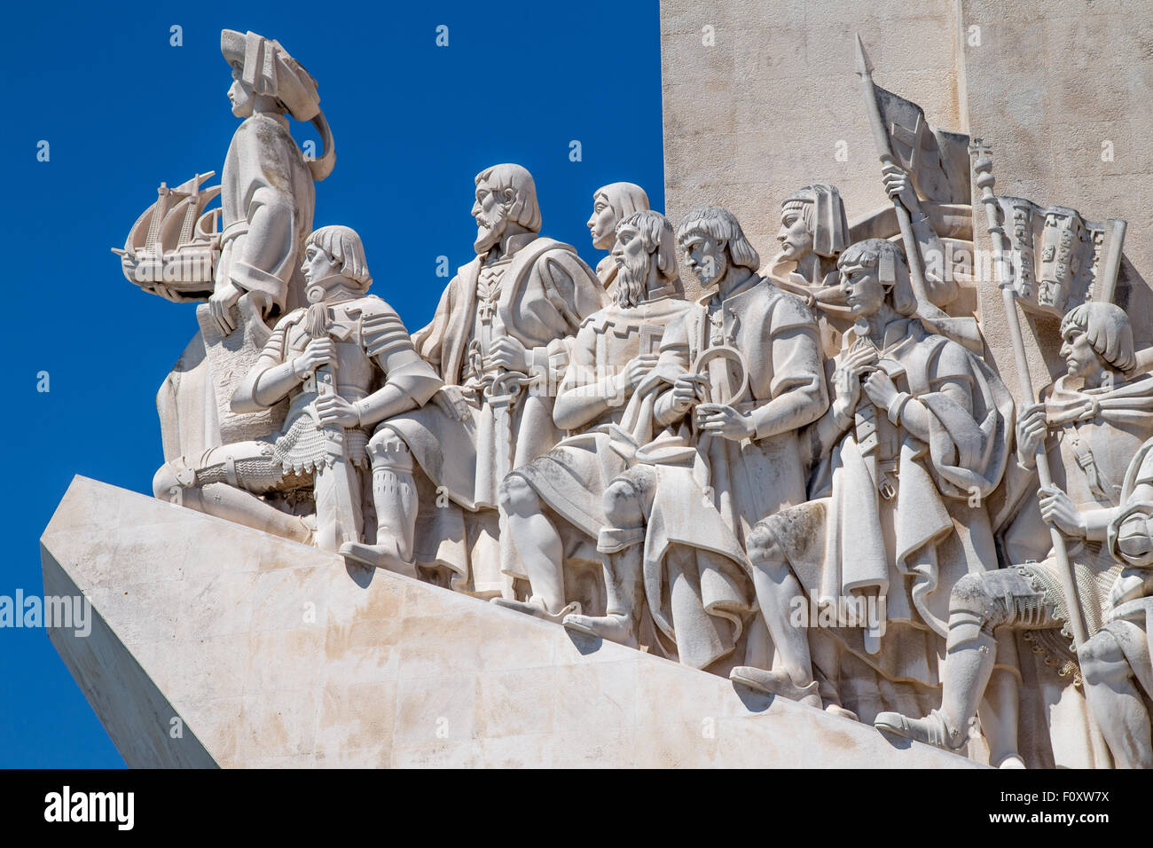 Statues of explorers on the Padrao dos Descobrimentos, the discoveries monument at Belem, Lisbon, Portugal - Stock Image