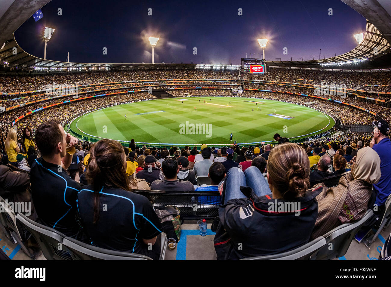 Wide shot of the entire MCG stadium at the final of the ICC Cricket World Cup 2015 at the Melbourne Cricket Ground - Stock Image