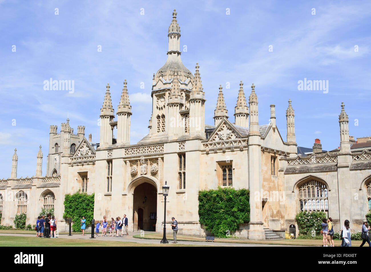 East side of Front Court, the entrance to King's College, Cambridge, England - Stock Image