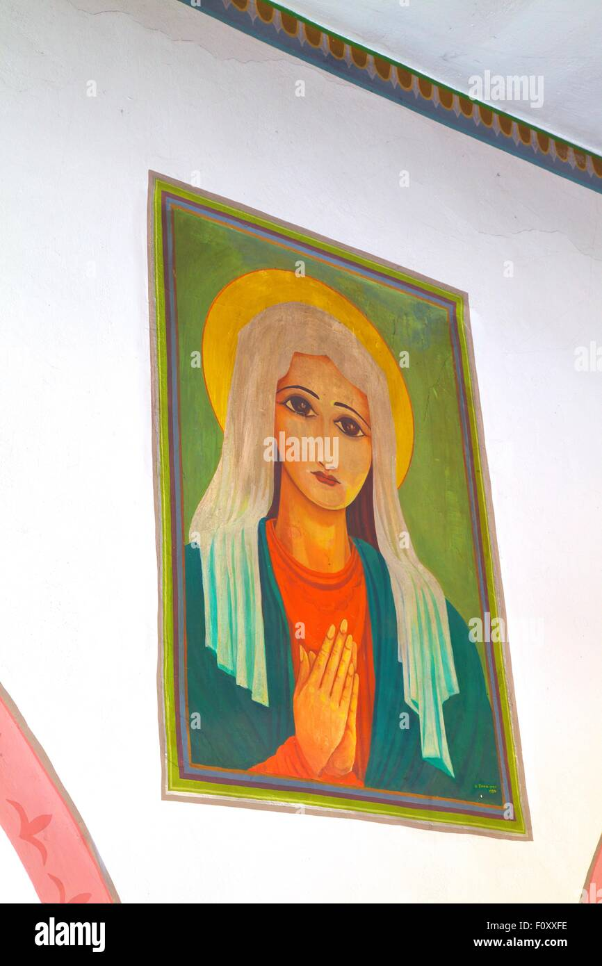 Paintings Produced By Political Detainees Of The Junta Period, St. Matrona-Kioura, Leros, Dodecanese, Greek Islands, - Stock Image