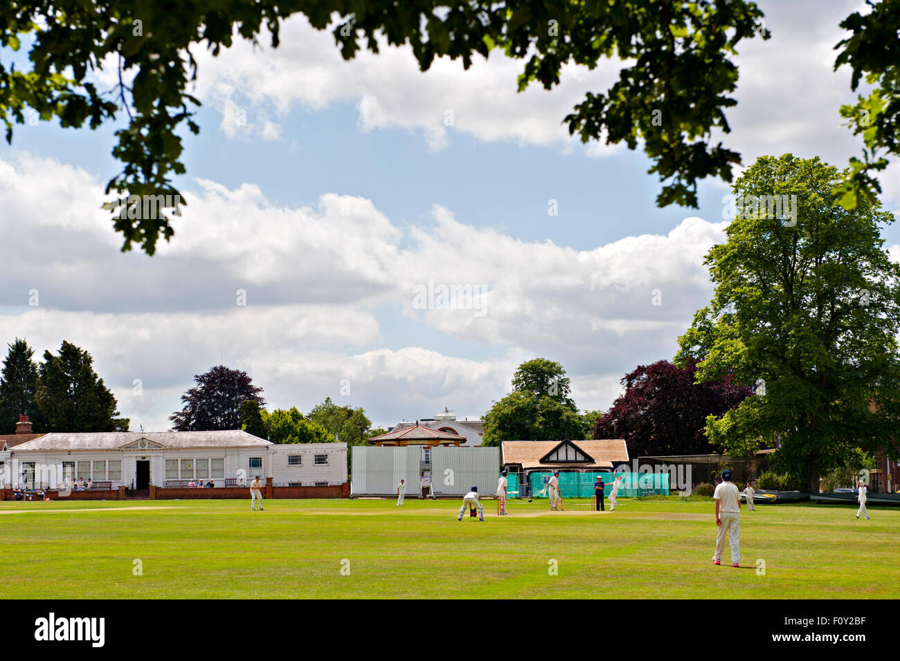 A cricket match in progress at the famous Vine cricket ground in Sevenoaks, Kent, UK Stock Photo