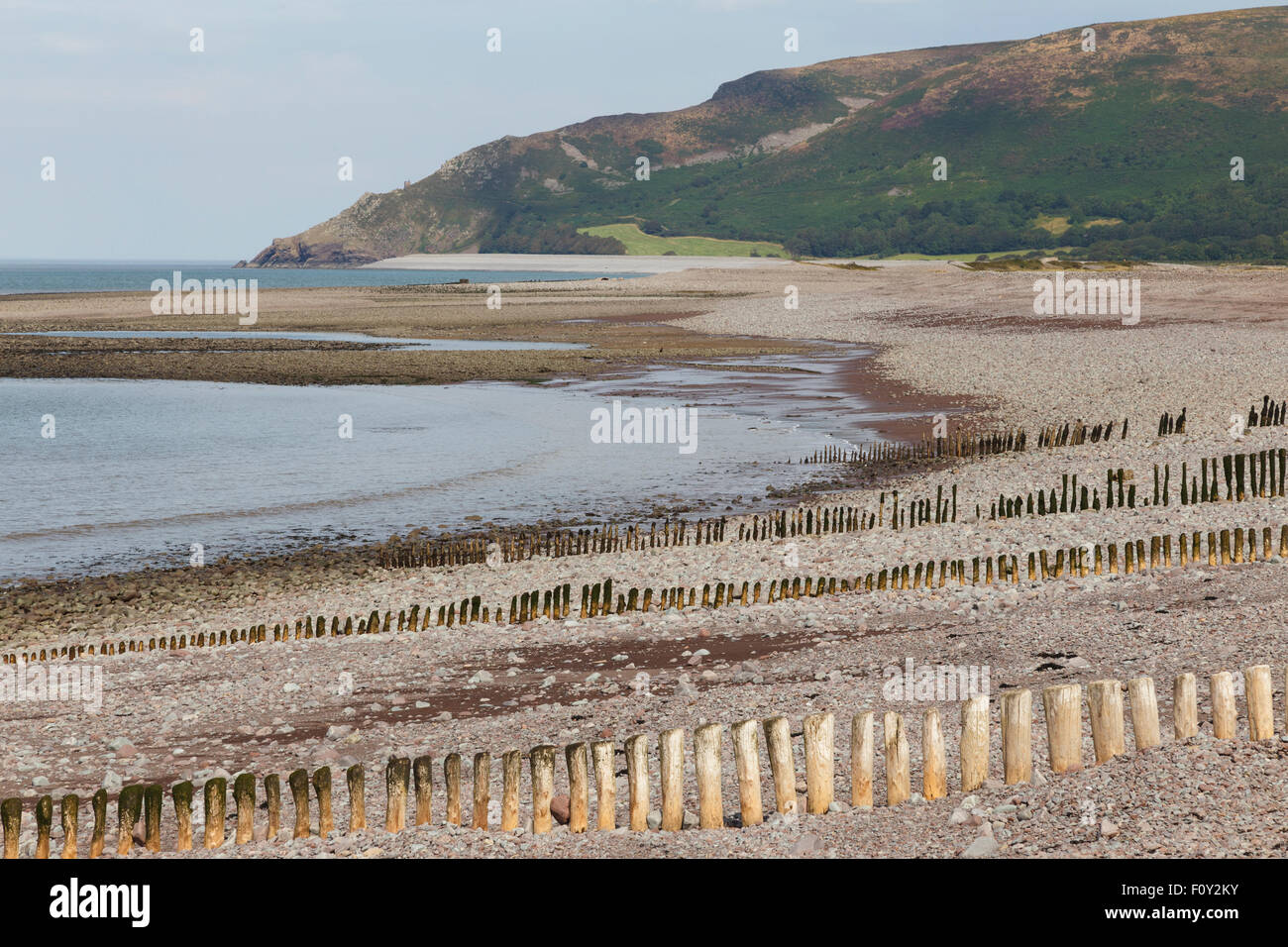 Beach between Porlock and Porlock Weir, Bossington Hill in background Stock Photo