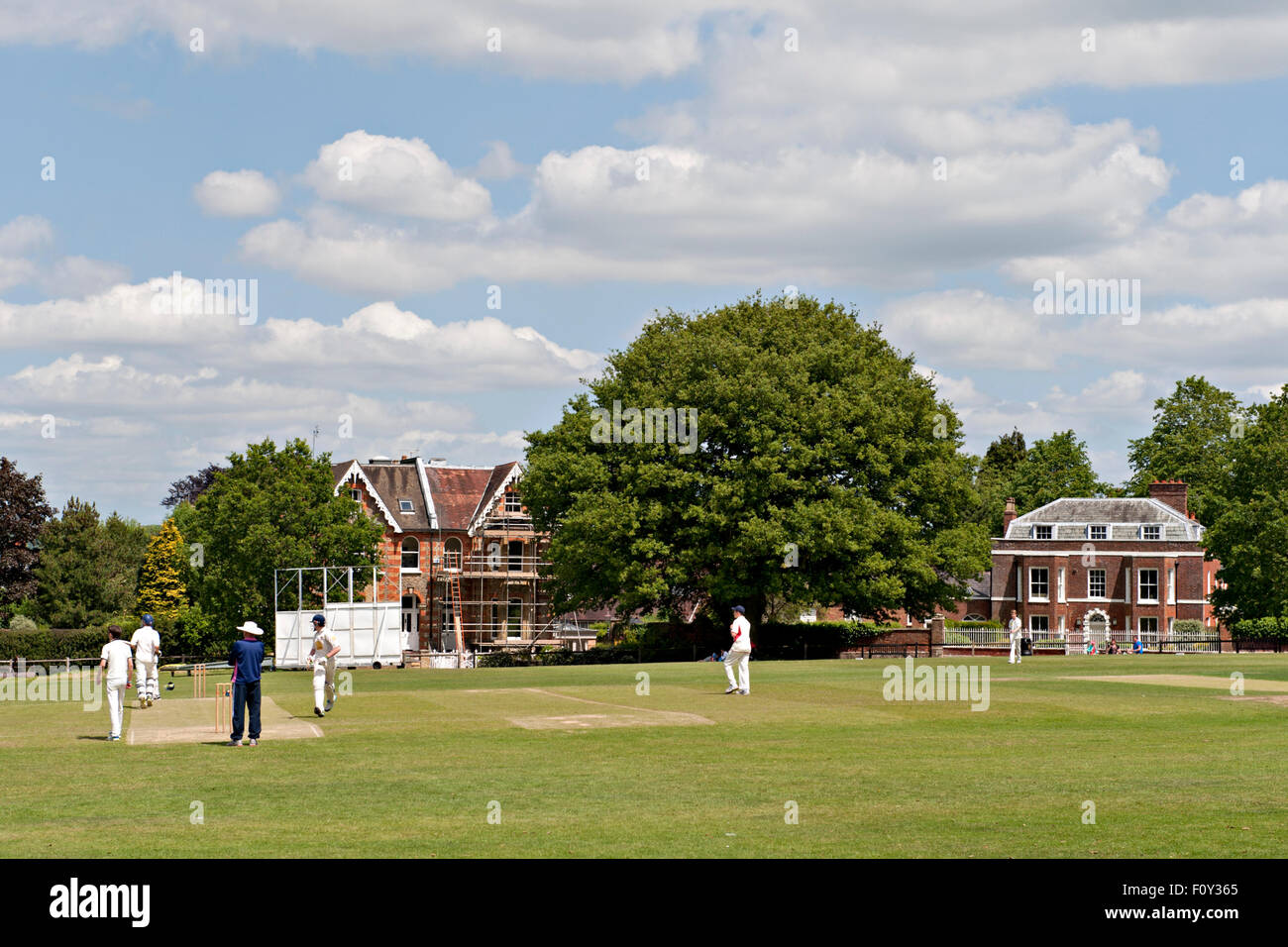 A cricket match in progress at the famous Vine cricket ground in Sevenoaks, Kent, UK Stock Photo
