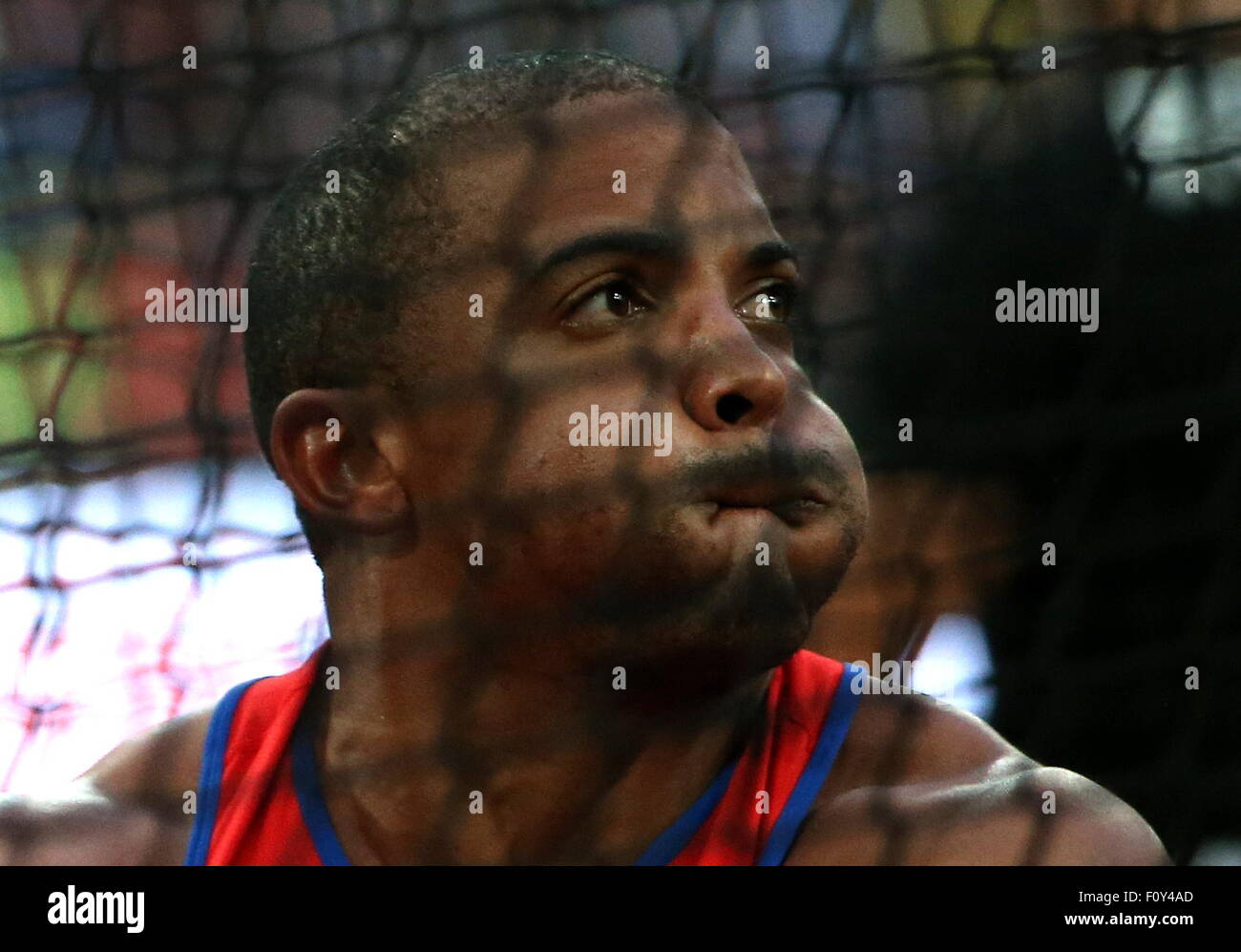 Beijing, China. 23rd Aug, 2015. Cuba's Roberto Janet competes in the men's hammer throw final on Day 2 of - Stock Image