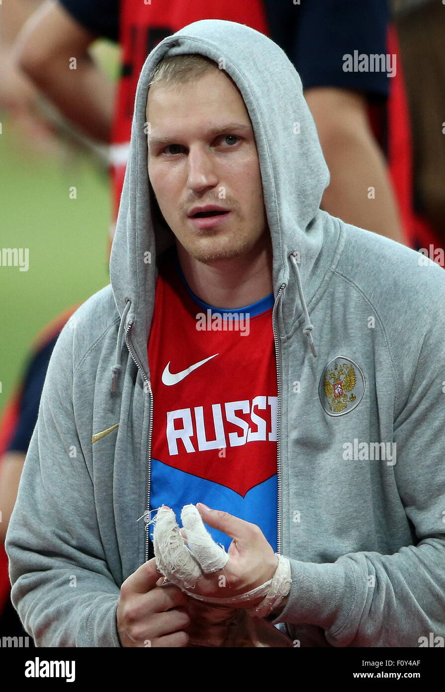 Beijing, China. 23rd Aug, 2015. Russia's Sergej Litvinov seen during the men's hammer throw final on Day - Stock Image