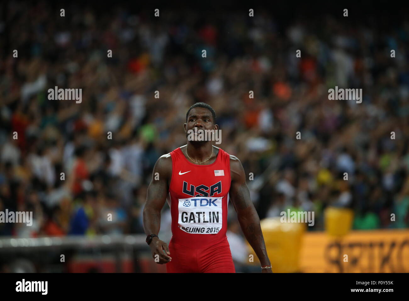 Beijing, China. 23rd Aug, 2015. Justin Gatlin reacts after the men's 100m final at the 2015 IAAF World Championships - Stock Image