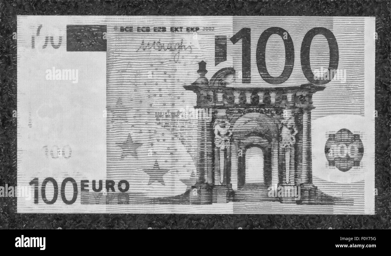 illustrations Banknote,Currency,one hundred Euro, European Union, - Stock Image