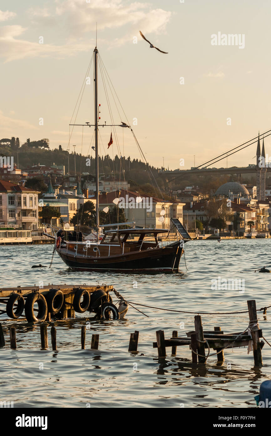 Anchored Boat on the Sea of Bosphorus - Stock Image
