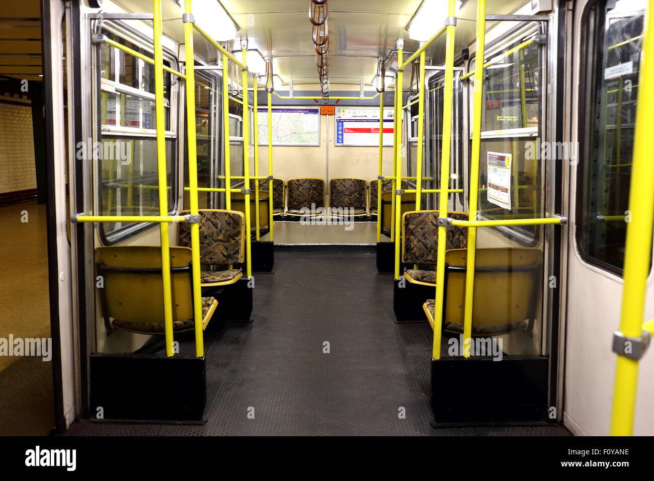 Inside a carriage on Budapest's metro line 1, M1, the Yellow Line - Stock Image