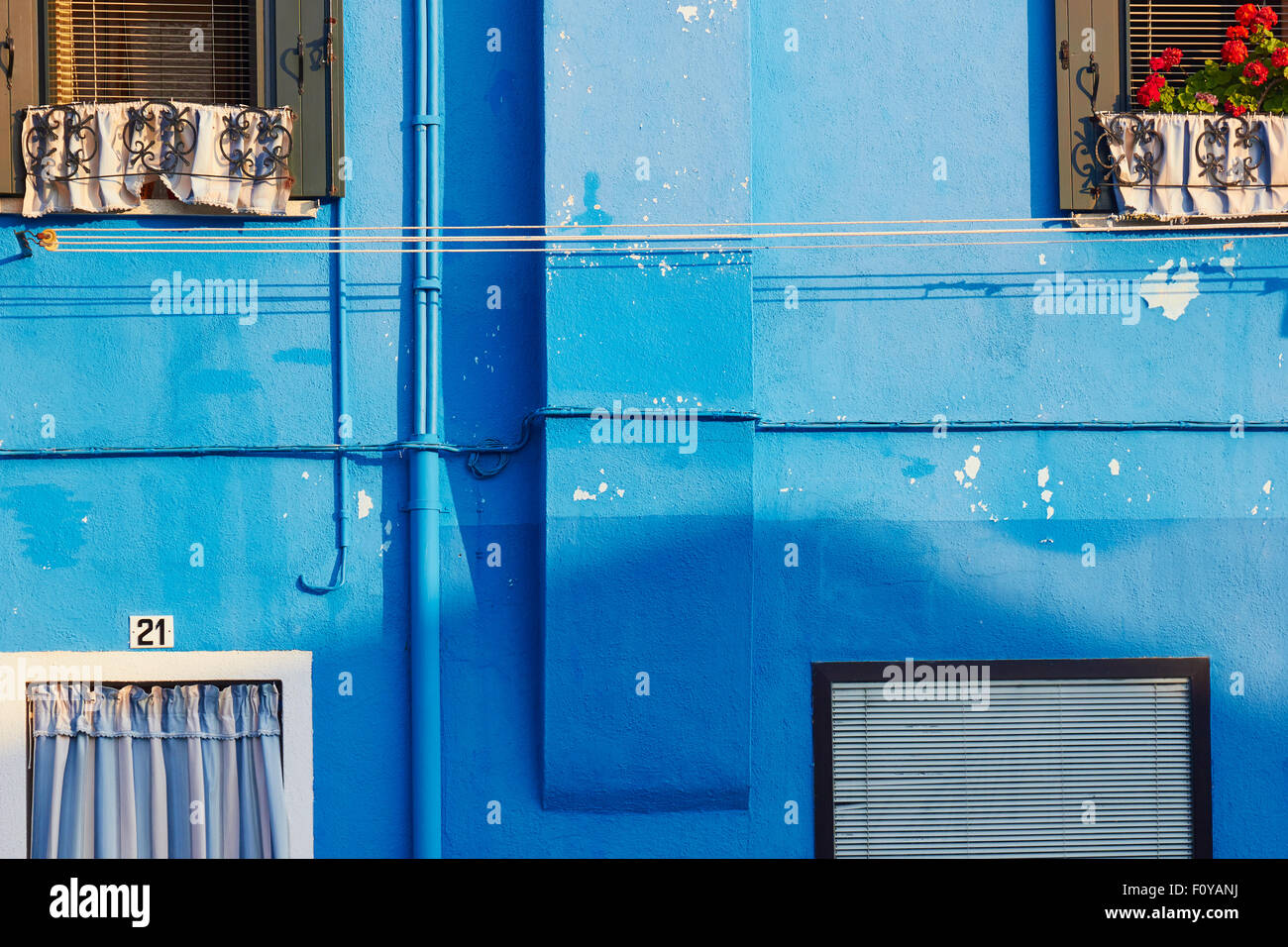 Blue painted house Burano Venetian Lagoon Veneto Italy Europe Stock Photo