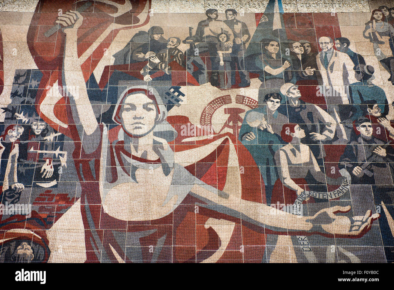 Mural 'Der Weg der Roten Fahne' at the Western side of the Kulturpalast, Dresden, Saxony, Germany - Stock Image