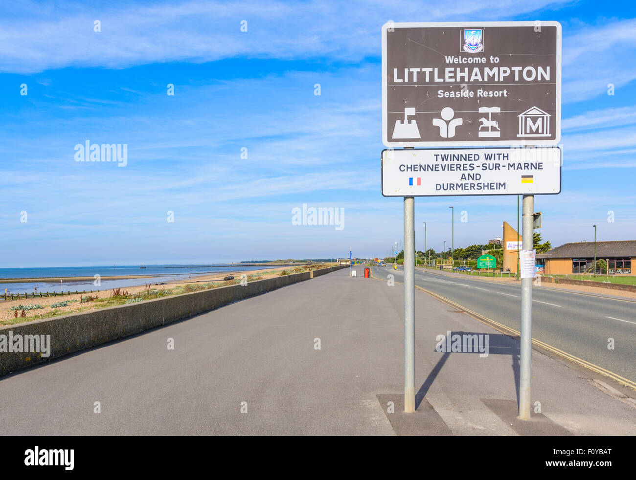 Twinned with sign under the Welcome to Littlehampton sign in Littlehampton, West Sussex, England, UK. - Stock Image