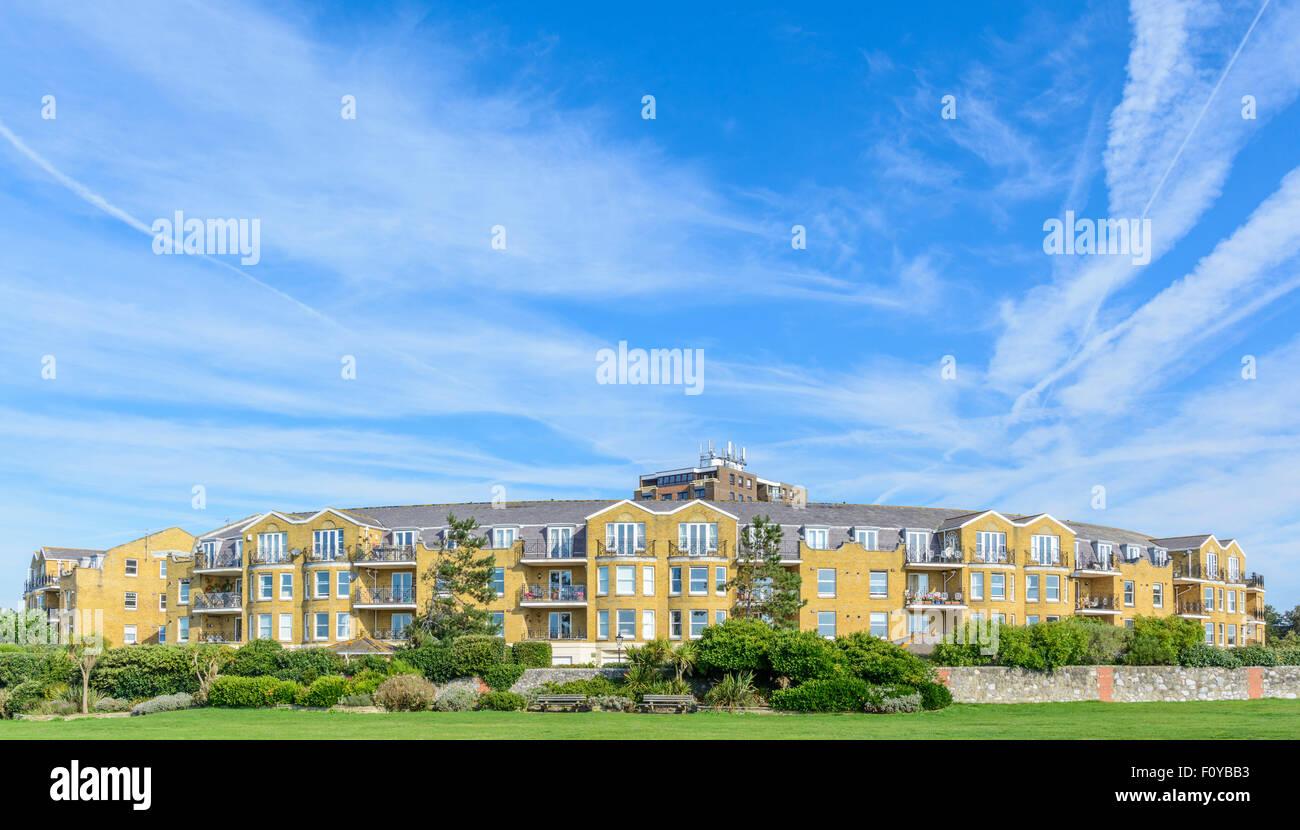 Beach Crescent apartment block in Littlehampton, West Sussex, England, UK. - Stock Image