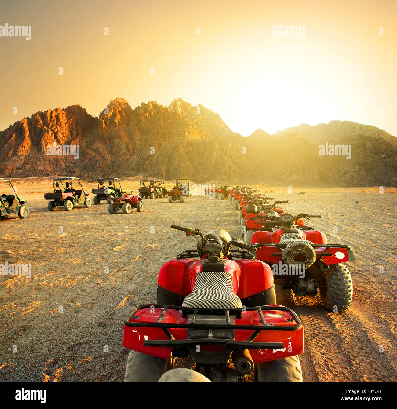 Quad bikes in desert at the sunset Stock Photo