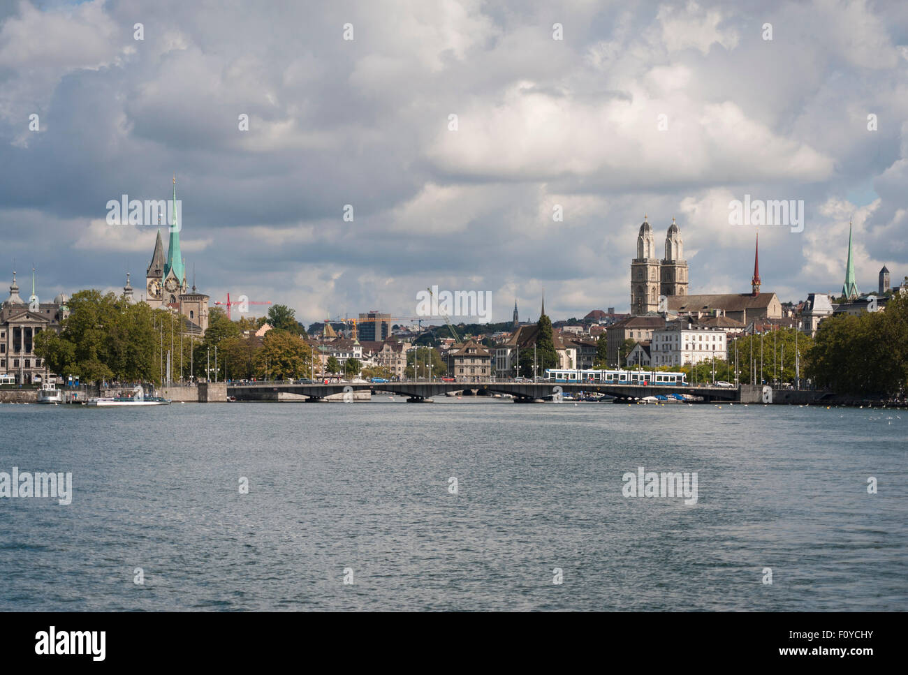 Panoramic view of Zurich, seen from lake Zurich, looking downstream the river of Limmat. Stock Photo