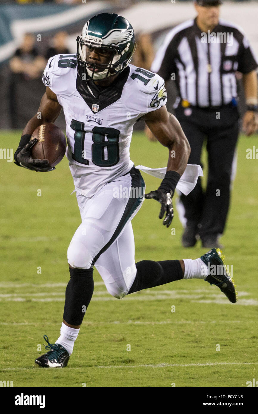 48015469e06 August 22, 2015: Philadelphia Eagles wide receiver Rasheed Bailey (18) runs  with the ball after the catch during the NFL preseason game between the ...