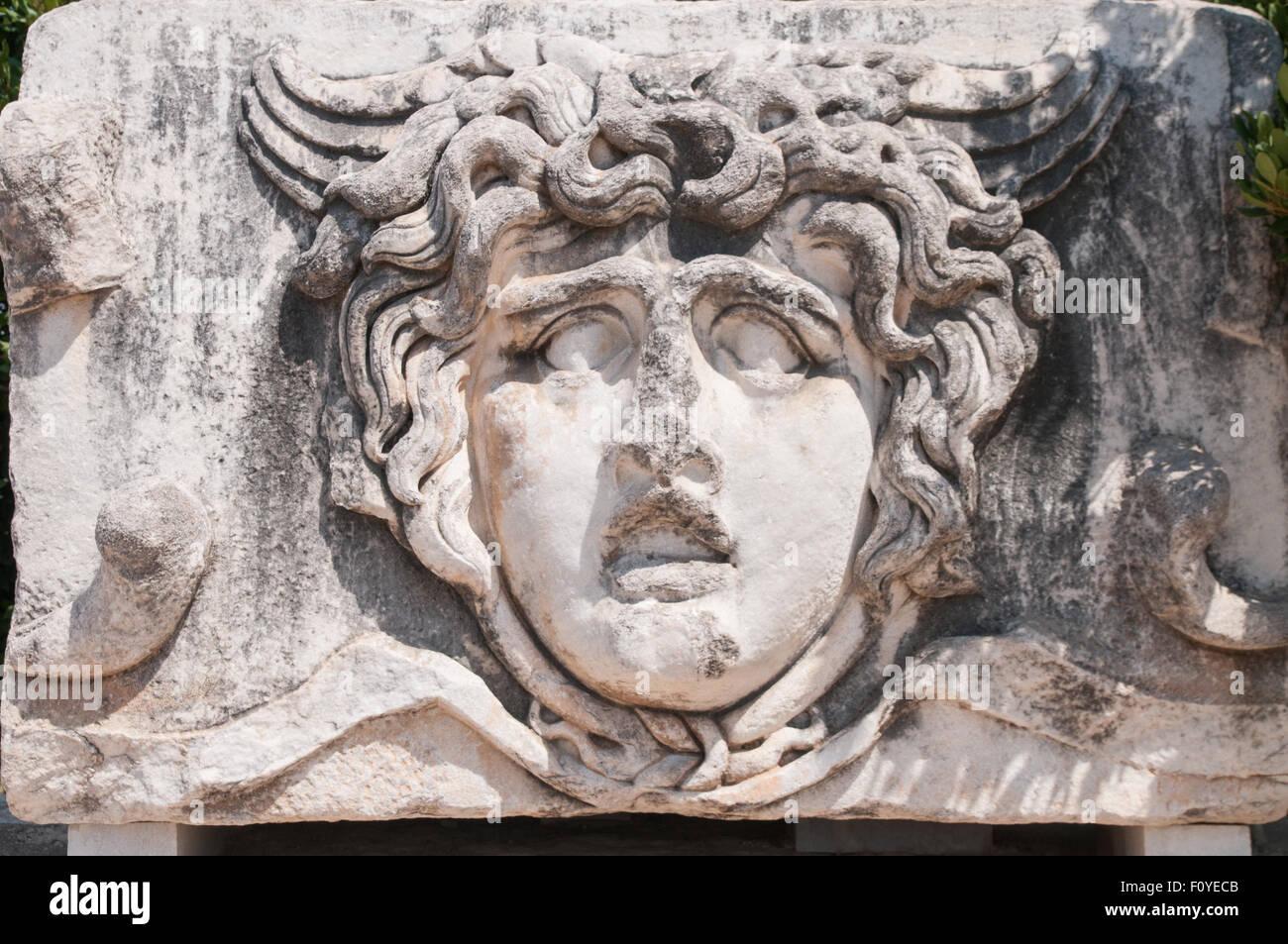 Medusa Gorgon in Apollo Temple, Didyma Stock Photo